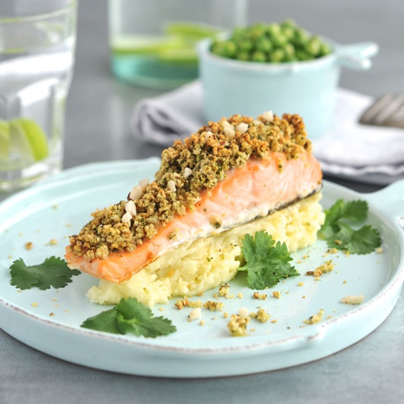 Try our delicious crusted salmon recipe for people living with cancer