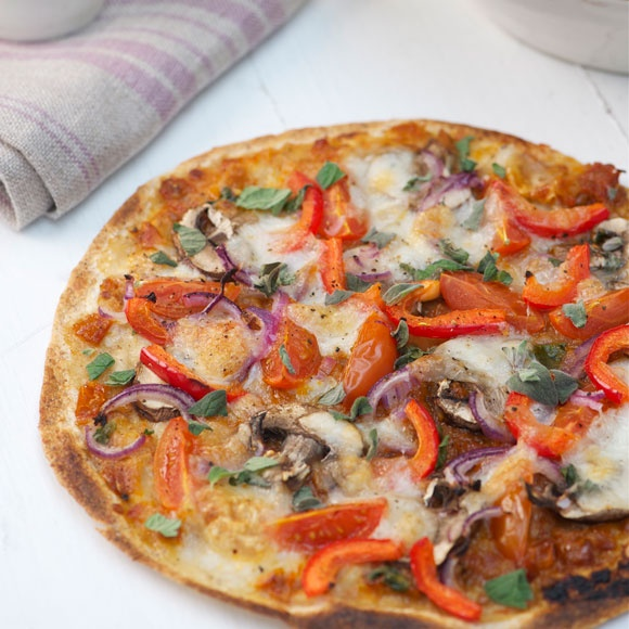 This tortilla pizza keeps all of the crunch
